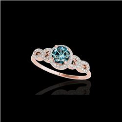 1.33 ctw SI Certified Fancy Blue Diamond Solitaire Ring 10K Rose Gold