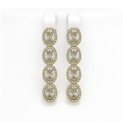 6.08 ctw Oval Cut Diamond Micro Pave Earrings 18K Yellow Gold