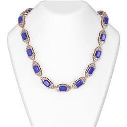 111.01 ctw Sapphire & Diamond Necklace 18K Rose Gold
