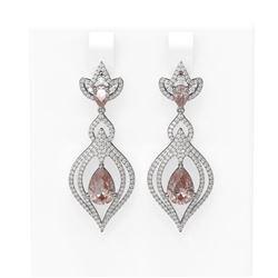 7.63 ctw Morganite & Diamond Earrings 18K White Gold