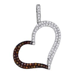 10kt Rose Gold Round Red Color Enhanced Diamond Heart Pendant 1/3 Cttw