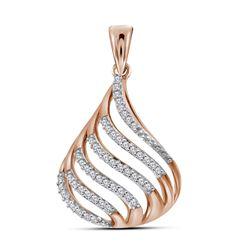 10kt Rose Gold Round Diamond Cascading Strand Teardrop Pendant 1/6 Cttw