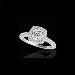 1.25 ctw Certified Diamond Solitaire Halo Ring 10K White Gold