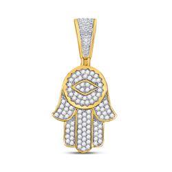 10kt Yellow Gold Mens Round Diamond Hamsa Charm Pendant 7/8 Cttw