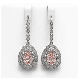 8.35 ctw Morganite & Diamond Victorian Earrings 14K White Gold