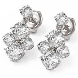 3.7 ctw Cushion Cut Diamond Designer Earrings 18K White Gold