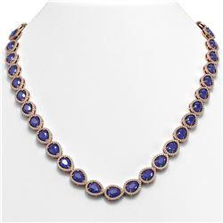45.93 ctw Sapphire & Diamond Micro Pave Halo Necklace 10K Rose Gold