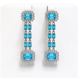11.04 ctw Swiss Topaz & Diamond Earrings 14K White Gold