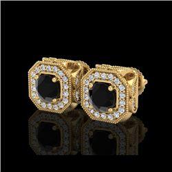 2.75 ctw Fancy Black Diamond Art Deco Stud Earrings 18K Yellow Gold