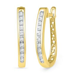 10kt Yellow Gold Round Diamond Slender Single Row Oblong Hoop Earrings 1/5 Cttw