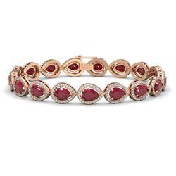 21.69 ctw Ruby & Diamond Micro Pave Halo Bracelet 10K Rose Gold