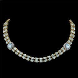 33.39 ctw Aquamarine & Diamond Necklace 14K Yellow Gold