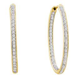 14kt Yellow Gold Round Diamond Inside Outside Endless Hoop Earrings 1/2 Cttw