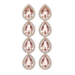10.4 ctw Morganite & Diamond Micro Pave Halo Earrings 10K Rose Gold