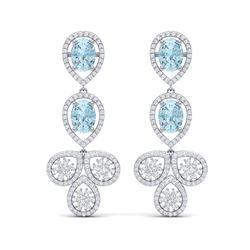 9.55 ctw Sky Topaz & VS Diamond Earrings 18K White Gold