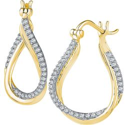 10kt Yellow Gold Round Diamond Oval Hoop Earrings 1/2 Cttw