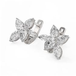 4.82 ctw Pear and Marquise Cut Diamond Earrings 18K White Gold