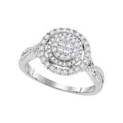 14kt White Gold Princess Round Diamond Cluster Bridal Wedding Engagement Ring 1/2 Cttw