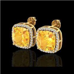 12 ctw Citrine & Micro Pave Halo VS/SI Diamond Earrings 18K Yellow Gold