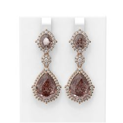 28.56 ctw Morganite & Diamond Earrings 18K Rose Gold