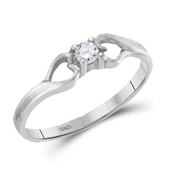 10kt White Gold Round Diamond Solitaire Heart Promise Bridal Ring 1/10 Cttw