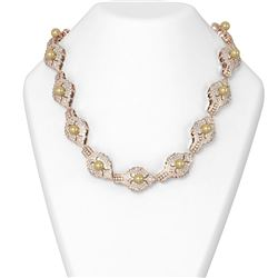 30 ctw Diamond and Pearl Necklace 18K Rose Gold