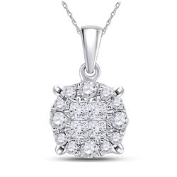 14kt White Gold Princess Diamond Fashion Cluster Pendant 1/6 Cttw