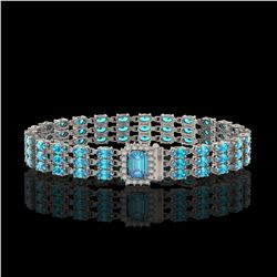 26.02 ctw Swiss Topaz & Diamond Bracelet 14K White Gold