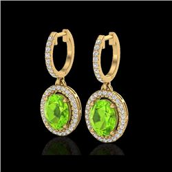 3.75 ctw Peridot & Micro Pave VS/SI Diamond Earrings 18K Yellow Gold
