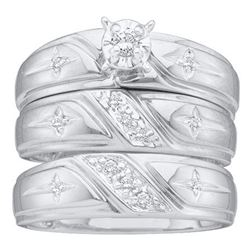 14kt White Gold His & Hers Round Diamond Solitaire Cross Matching Bridal Wedding Ring Band Set 1/6 C