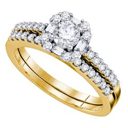 14kt Yellow Gold Round Diamond Slender Halo Bridal Wedding Engagement Ring Band Set 3/4 Cttw