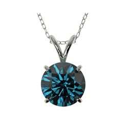 1.53 ctw Certified Intense Blue Diamond Necklace 10K White Gold