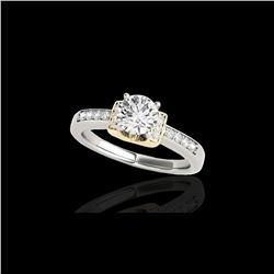 1.11 ctw Certified Diamond Solitaire Ring 10K White & Yellow Gold