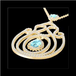 3.20 ctw Sky Blue Topaz & Micro Diamond Heart Necklace 14K Yellow Gold