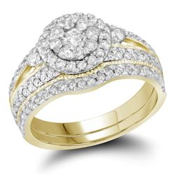 14kt Yellow Gold Round Diamond Cluster Bridal Wedding Engagement Ring Band Set 1.00 Cttw