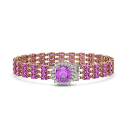 24.75 ctw Amethyst & Diamond Bracelet 14K Rose Gold