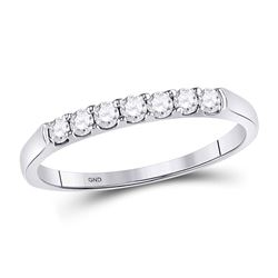 14kt White Gold Round Diamond Single Row Wedding Band 1/4 Cttw