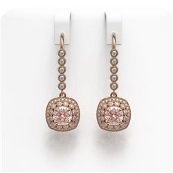 4.3 ctw Certified Morganite & Diamond Victorian Earrings 14K Rose Gold