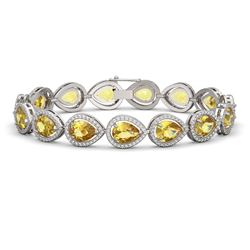 17.3 ctw Fancy Citrine & Diamond Micro Pave Halo Bracelet 10K White Gold