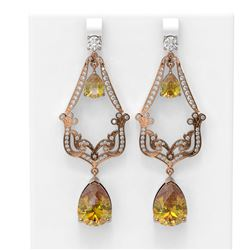 26.4 ctw Canary Citrine & Diamond Earrings 18K Rose Gold