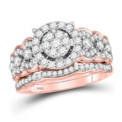 14kt Rose Gold Round Diamond Bridal Wedding Engagement Ring Band Set 1.00 Cttw