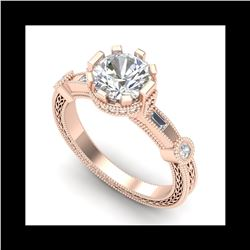 1.71 ctw VS/SI Diamond Solitaire Art Deco Ring 18K Rose Gold