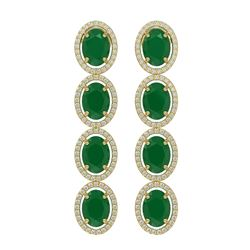 15.68 ctw Emerald & Diamond Micro Pave Halo Earrings 10K Yellow Gold