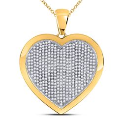 10kt Yellow Gold Round Diamond Heart Cluster Pendant 1.00 Cttw