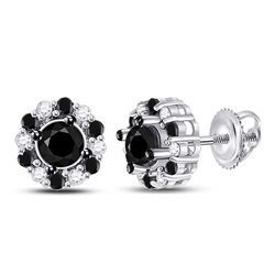 10kt White Gold Round Black Color Enhanced Diamond Stud Earrings 1.00 Cttw