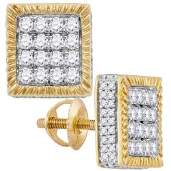 10kt Yellow Gold Mens Round Diamond Square 3D Cluster Stud Earrings 1.00 Cttw