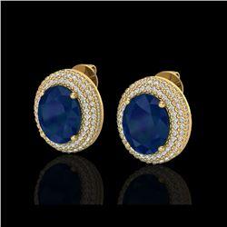 9.20 ctw Sapphire & Micro Pave VS/SI Diamond Earrings 18K Yellow Gold