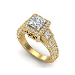 3.53 ctw Princess VS/SI Diamond Micro Pave 3 Stone Ring 18K Yellow Gold