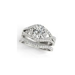1.4 ctw Certified VS/SI Diamond 2pc Set Ring Solitaire Halo 14K White Gold