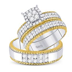 14kt Two-tone Gold His Hers Round Diamond Cluster Matching Bridal Wedding Ring Band Set 1.00 Cttw